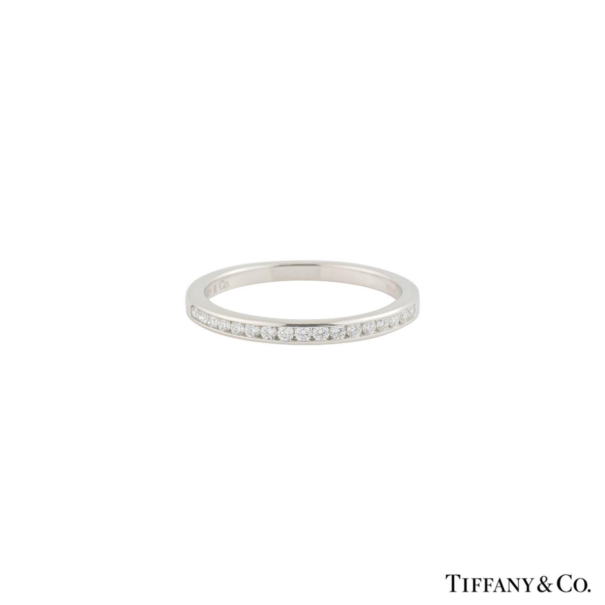 Tiffany Co Platinum Lucida 2mm Wedding Band Ring Sz 8: Tiffany & Co. Diamond Wedding Band